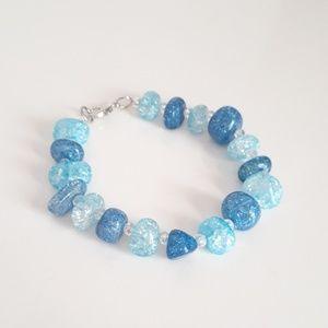 Blue Colored Crackled Glass Beaded Bracelet